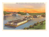 Barge Fleet, Mississippi River, Minnesota Prints