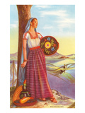 Michoacan Lady with Pottery Print