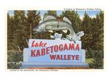 Sign for Lake Kabetogama, Minnesota, Walleye Art