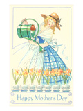 Lady in Hoop Skirt Watering Daffodils, Mother's Day Posters