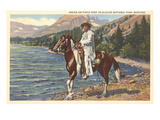 Indian on Pinto Pony, Glacier Park, Montana Print