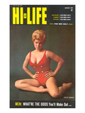 Tough Blonde in Red Bathing Suit Posters