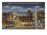 Night, Downtown Asheville, North Carolina Prints