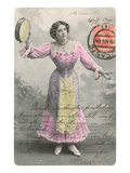 Wasp-Waisted Lady with Tambourine Print