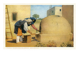 Pueblo Women Baking Bread, New Mexico Poster