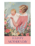 Happy Mothers Day, Mother in Garden with Baby Posters