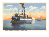 Steamer, Straits of Mackinac, Michigan Prints