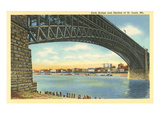 Eads Bridge and Old Skyline of St. Louis, Missouri Print