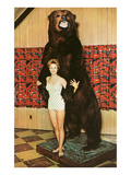 Lady with Bear, Retro Art