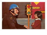 Policeman Explaining Traffic Signal to Young Girl Print