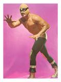 Mexican Wrestler Ready for Take-Down Giclée-Premiumdruck