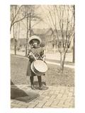 Little Girl with Drum Posters
