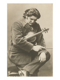 Pensive Man with Violin Prints