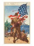 US Marines, On the Beach Print