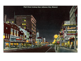 Night, High Street, Jefferson City, Missouri Prints
