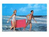 Beach-goers with Raft, Retro Poster