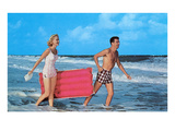 Beach-goers with Raft, Retro Print