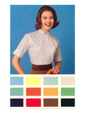 Woman in Blouse, Paint Chips, Retro Prints