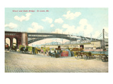 Wharf and Eads Bridge, St. Louis, Missouri Prints