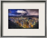 Hong Kong from the peak on a summer's night Framed Photographic Print by Trey Ratcliff