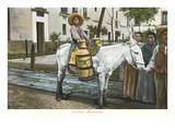 Milk Seller on Burro, Mexico Prints