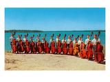 14 Double Bass Players at the Beach, Retro Prints