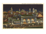 Night, Union Station, Kansas City, Missouri Prints