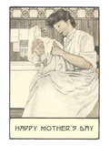 Mother Bathing Child Posters