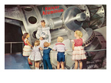 Astronaut Talking to Children, Retro Posters
