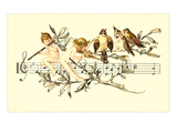 Angel and Bird Chorus on Staff Prints