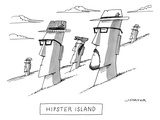 The Moai statues of Easter Island are changed to resemble hipsters; they n… - New Yorker Cartoon Premium Giclee Print by Joe Dator