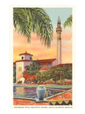 Pool and Minaret, Agua Caliente, Tijuana, Mexico Print