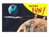 Water Skiing on the Moon, Having Fun Posters