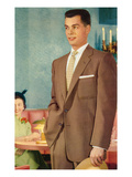 Young Man in Suit at Restaurant, Retro Prints