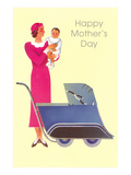 Happy Mothers Day, Art Deco Mom and Pram Prints