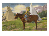 Kootenai Indian and Tepees, Montana Art