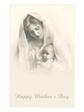Happy Mothers Day, Mother and Child in Veil Posters