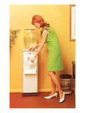 Mod Redhead at Water Cooler, Retro Prints