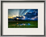A soft summer night in the marsh Framed Photographic Print by Trey Ratcliff