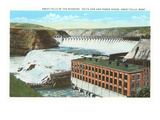 Great Falls, Volta Dam, Montana Print
