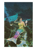 Mermaid with Mirror Poster