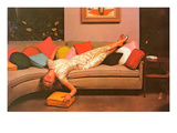 Woman Lounging on Couch, Retro Prints