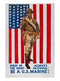 World War I: U.S. Marines Giclée-tryk af James Montgomery Flagg