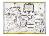 Great Lakes Map, 1755 Giclee Print