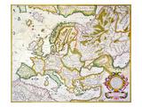 Map Of Europe, 1623 Giclee Print by Jodocus Hondius