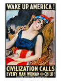'Wake Up America' Poster Giclée-tryk af James Montgomery Flagg