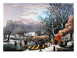 Winter Scene: Evening 1854 Premium Giclee Print by  Currier & Ives