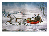 The Road-Winter, 1853 Giclee Print by  Currier & Ives