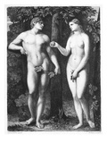 Adam und Eva Giclée-Druck von Palma Vecchio