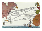 Slave Trade Map, 17Th C Giclee Print